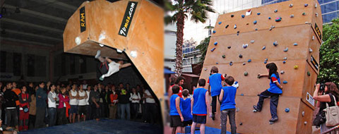 Climbing Wall in a competition and Climbing Wall used by kids
